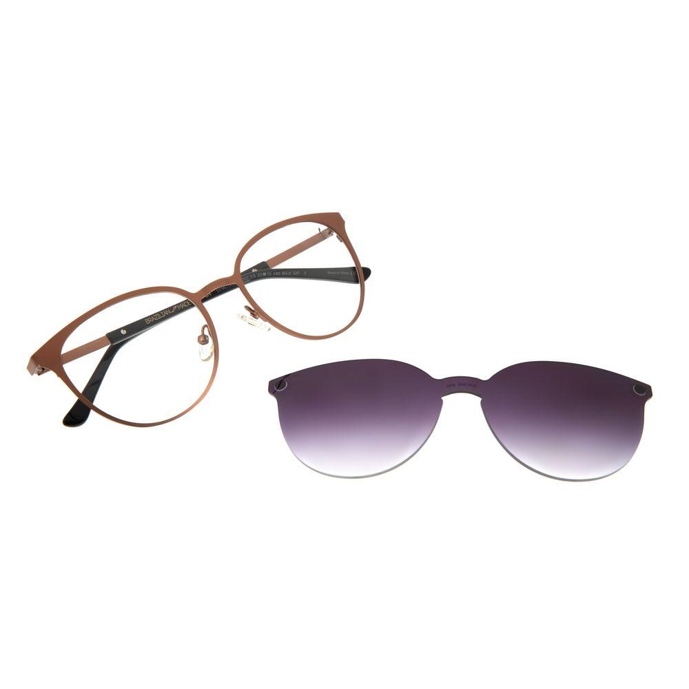 Armação Para Óculos de Grau Feminino Chilli Beans Multi Redondo Metal Marrom LV.MU.0429-2002