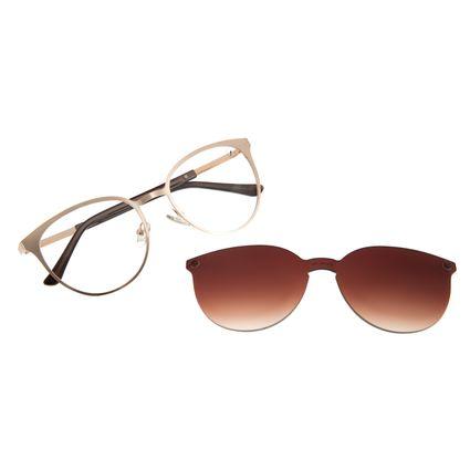 Armação Para Óculos de Grau Feminino Chilli Beans Multi Redondo Metal Dourado Claro LV.MU.0429-5764