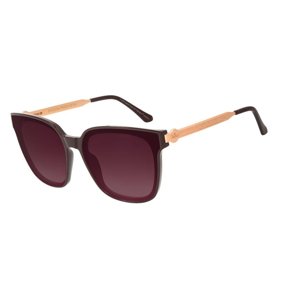 Óculos de Sol Feminino The Beatles Quadrado Vinho OC.CL.3104-1417