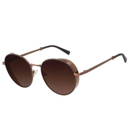 Óculos de Sol Feminino The Beatles Redondo Flap Marrom OC.MT.2928-5702