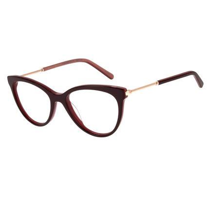 Armação Para Óculos de Grau Feminino Lady Like Gatinho Vinho LV.MU.0226-2017.2