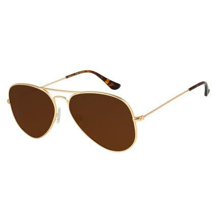 Óculos de Sol Unissex Chilli Beans Aviador Dourado Polarizado OC.MT.2419-0221