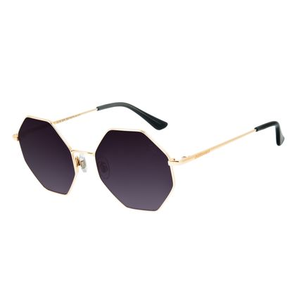 Óculos de Sol Feminino Chilli Beans Hexagonal Dourado OC.MT.2879-2021