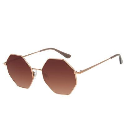 Óculos de Sol Feminino Chilli Beans Hexagonal Degrade Marrom OC.MT.2879-5702
