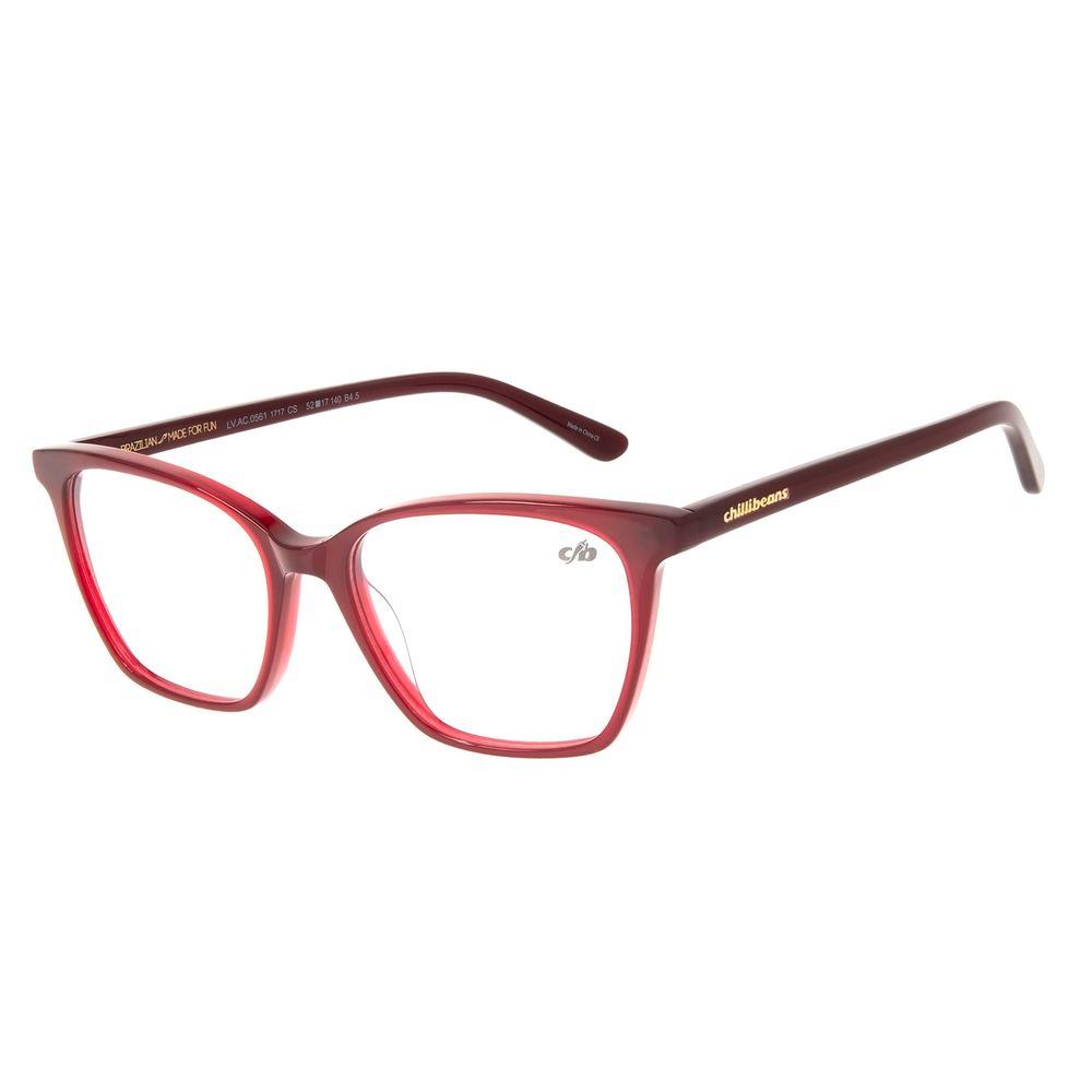 Armação Para Óculos de Grau Feminino Chilli Beans Casual Vinho LV.AC.0561-1717