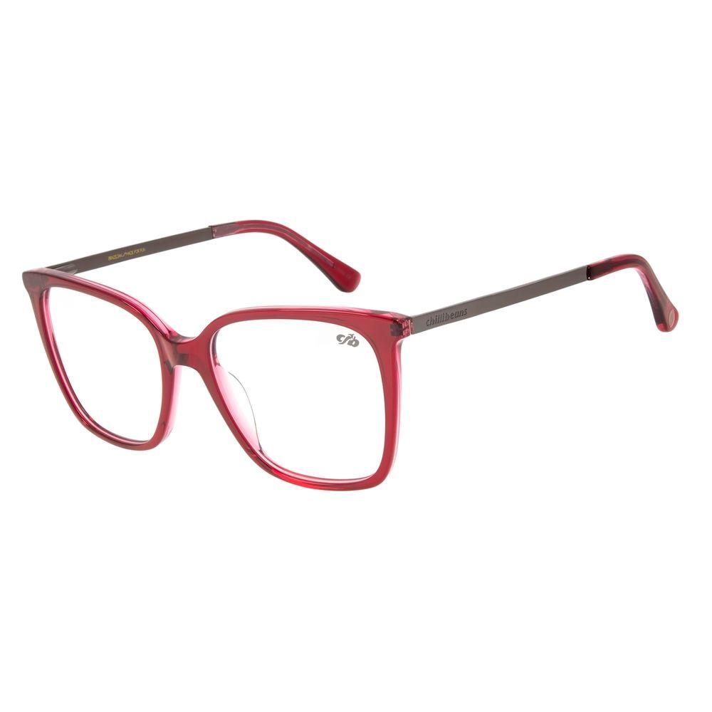 Armação para Óculos de Grau Chilli Beans Feminino Quadrado Vermelho LV.AC.0633-1616