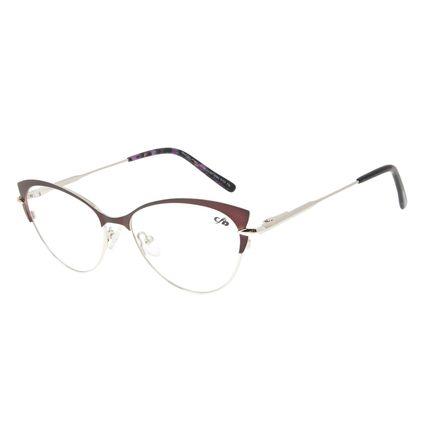 Armação Para Óculos de Grau Feminino Chilli Beans gatinho Prata LV.MT.0384-0107