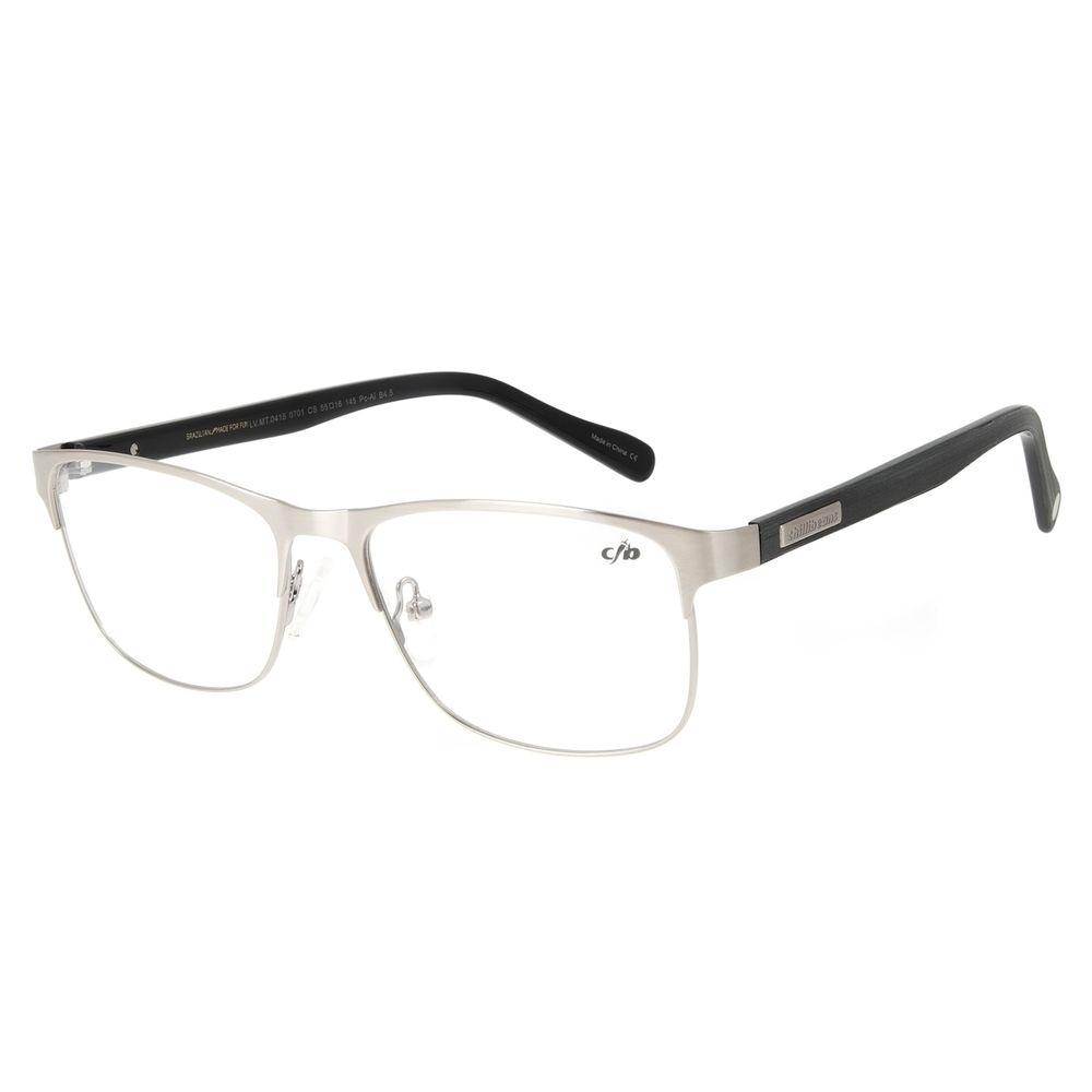Armação Para Óculos de Grau Unissex Chilli Beans Quadrado Wood Prata LV.MT.0415-0701