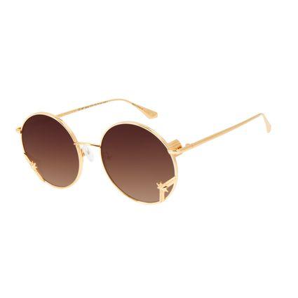 Óculos de Sol Unissex Marvel Capitã Marvel Banhado A Ouro Degradê Marrom OC.MT.2954-5721
