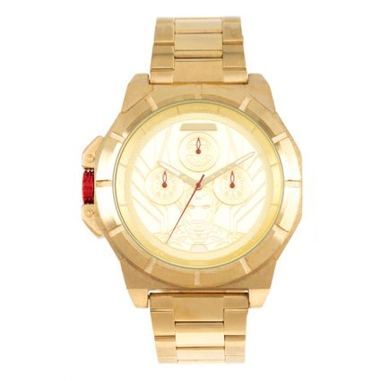 Relógio Analógico Masculino Marvel Iron Man Dourado RE.MT.1123-2121