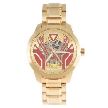 Relógio Automático Masculino Marvel Homem de Ferro Dourado RE.MT.1149-1621
