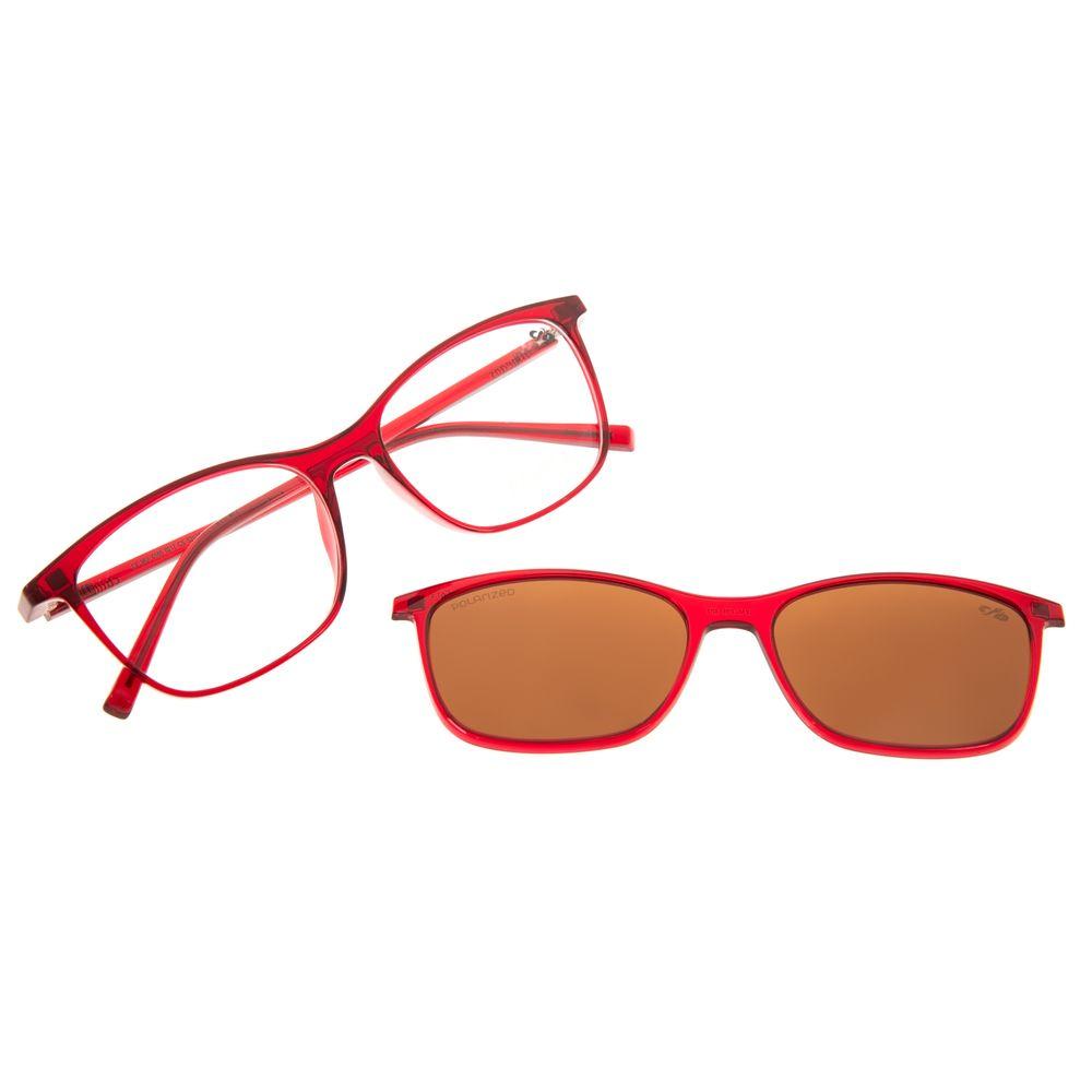 Armação Para Óculos de Grau Feminino Chilli Beans Multi 2 em 1 Polarizado Vinho LV.MU.0185-0217