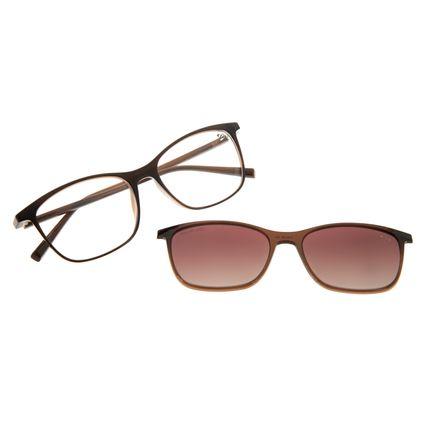 Armação Para Óculos de Grau Feminino Chilli Beans Multi 2 em 1 Polarizado Marrom LV.MU.0185-5702