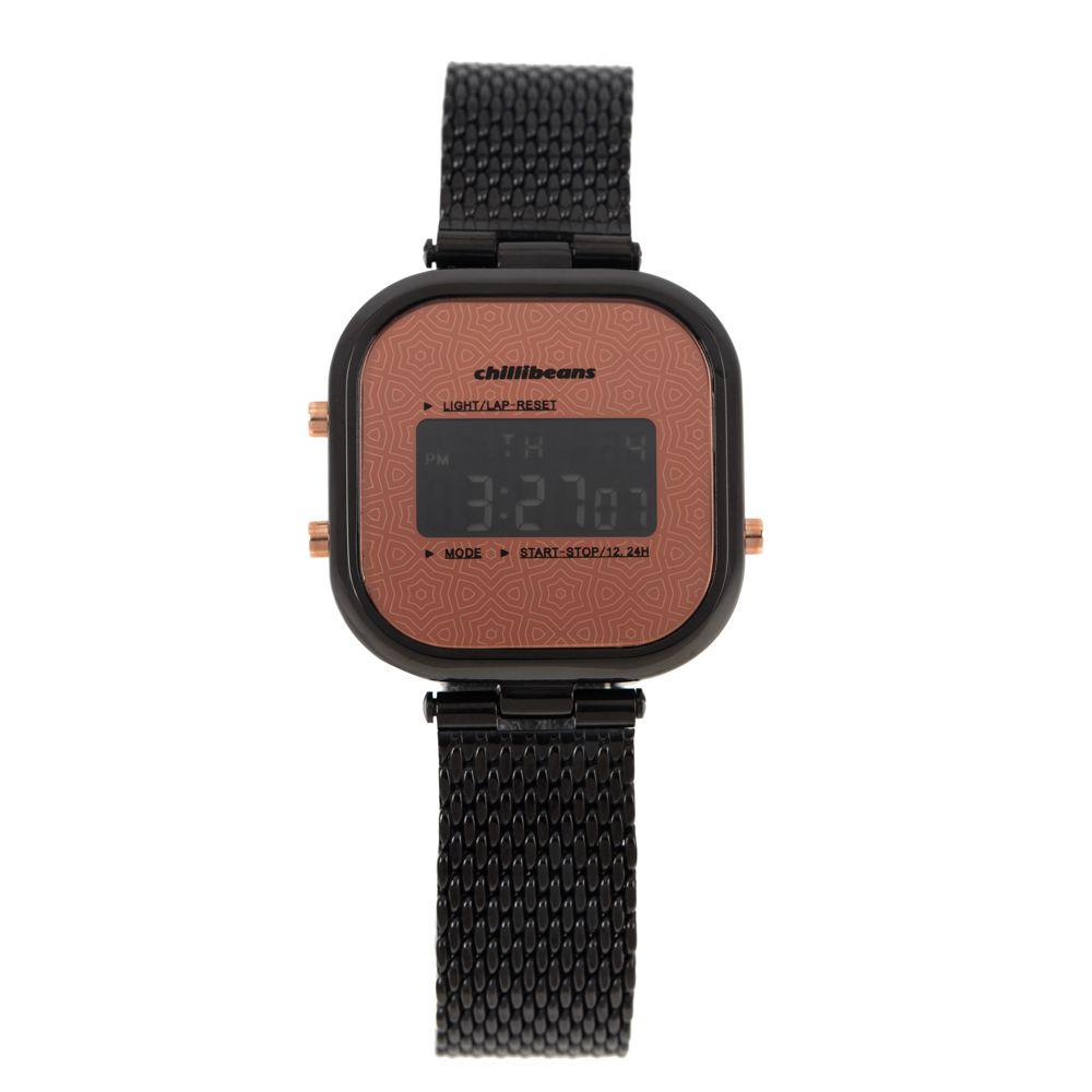 Relógio Digital Feminino Rosé Gold Preto RE.MT.0879-0101