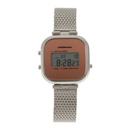 Relógio Digital Feminino Rosé Gold Prata RE.MT.0879-0707