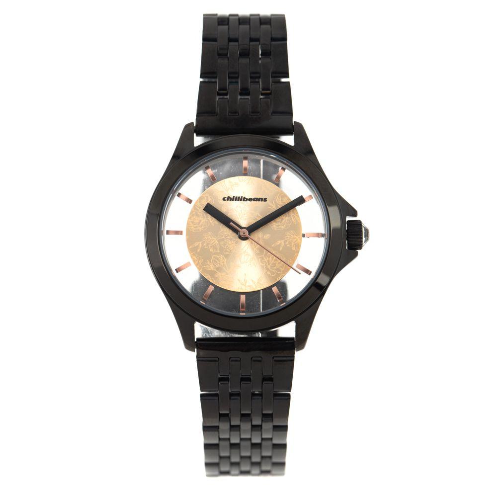 Relógio Analógico Feminino Rose Gold Preto RE.MT.0892-9501
