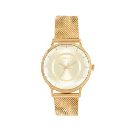 Relógio Analógico Feminino Marvel Iron Man Dourado RE.MT.1141-2121