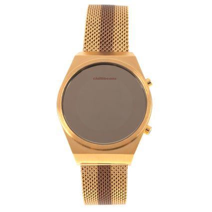 Relógio Digital Feminino Double Plating Dourado RE.MT.1077-2121