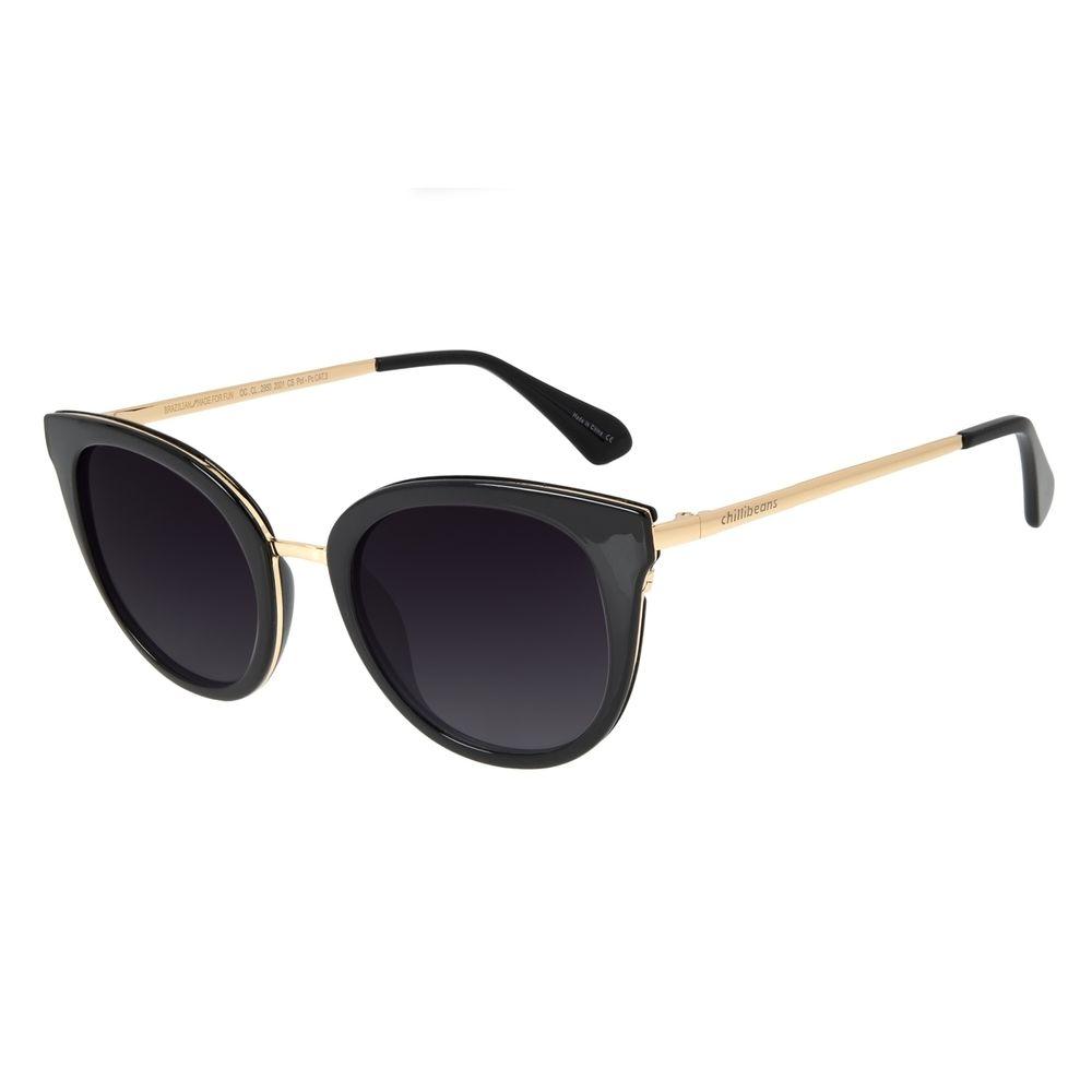 Óculos de Sol Feminino Chilli Beans Redondo Polarizado Degradê Preto OC.CL.2950-2001