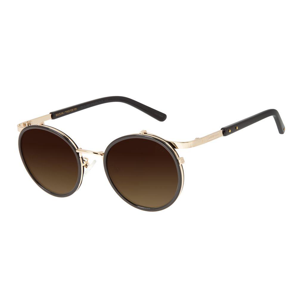 Óculos de Sol Unissex Redondo Barber Shop Degradê Marrom OC.CL.3087-5702