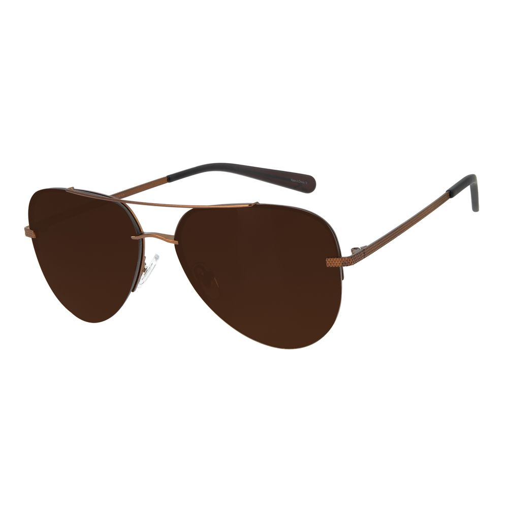 Óculos de Sol Unissex Aviador Barber Shop Marrom Escuro OC.MT.2909-0247