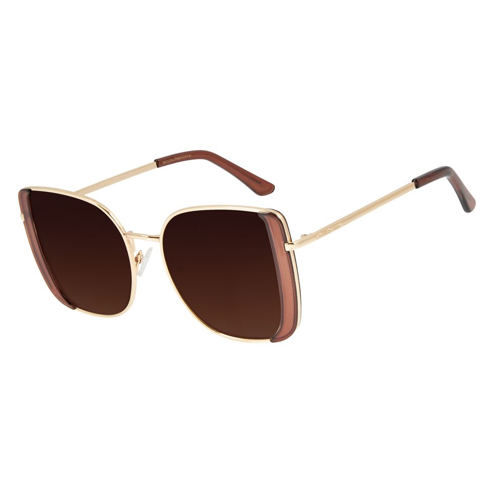 Óculos de Sol Feminino Mãe Natureza Quadrado Dourado OC.MT.2865-5721