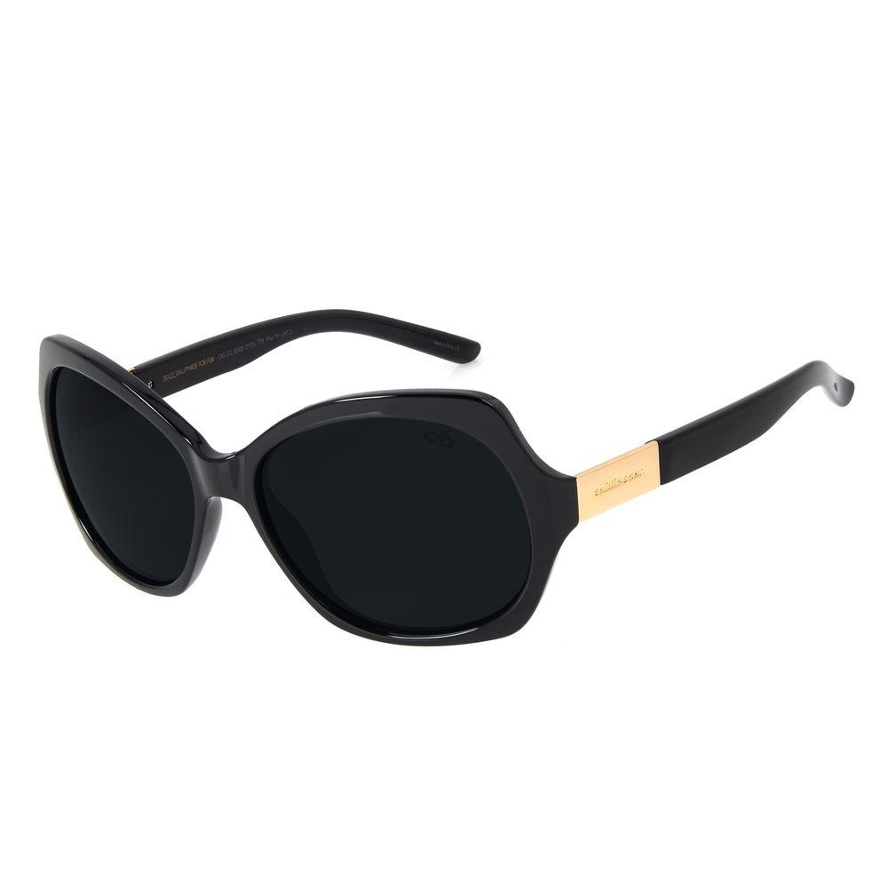 Óculos de Sol Feminino Chilli Beans Essential Quadrado Preto Polarizado OC.CL.3000-0101