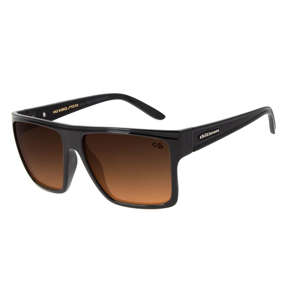 Óculos de Sol Unissex Chilli Beans Essential Quadrado Marrom Escuro OC.CL.1058-4701
