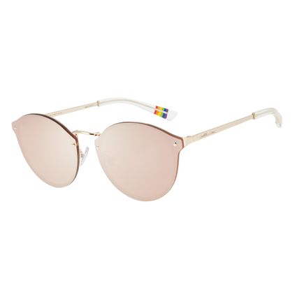 Óculos de Sol Unissex Chilli Beans True Colors Redondo Dourado OC.MT.2892-2921