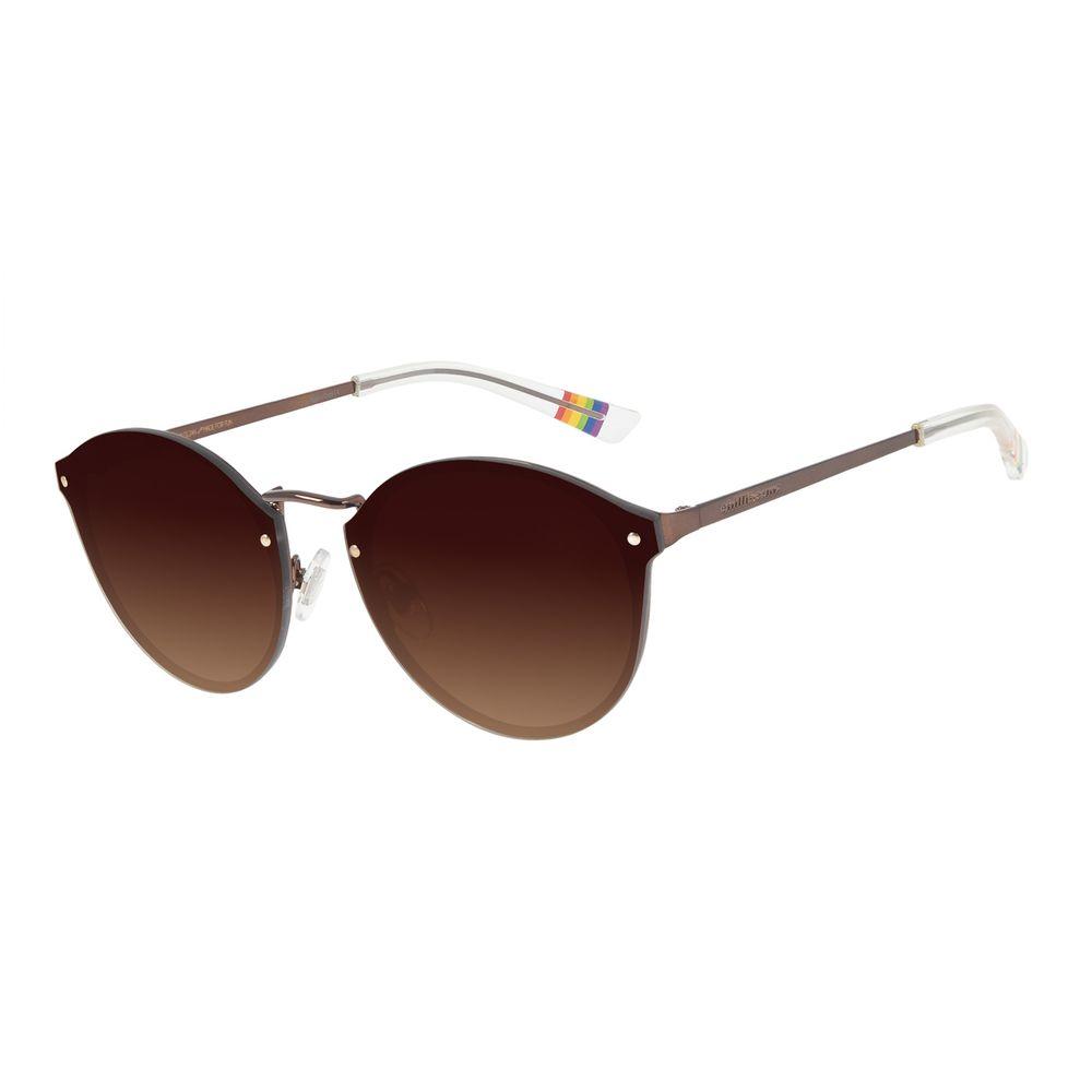 Óculos de Sol Unissex Chilli Beans True Colors Redondo Marrom Escuro OC.MT.2892-5747