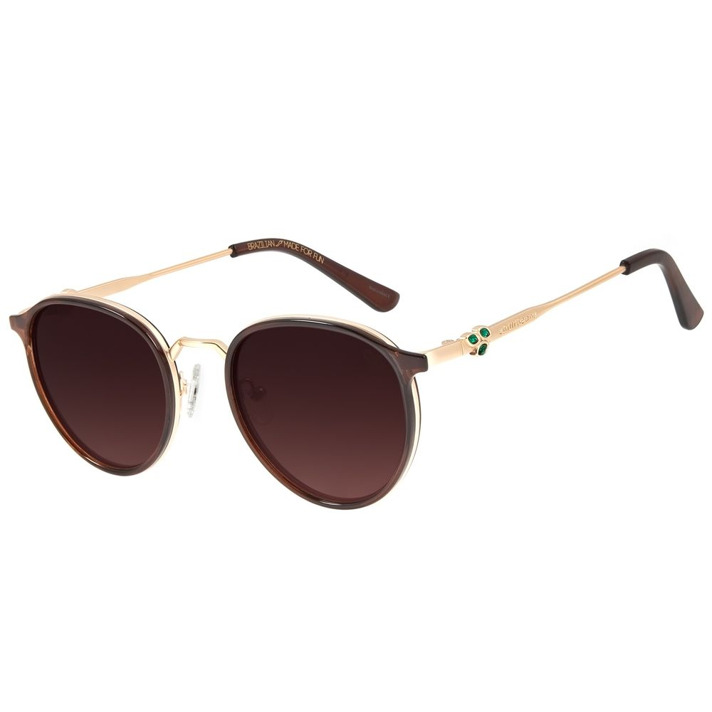 Óculos de Sol Unissex Mãe Natureza Redondo Marrom OC.CL.3033-5702