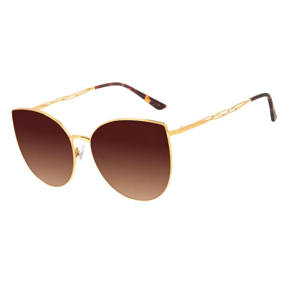 Óculos de Sol Feminino Mãe Natureza Banhado a Ouro Degradê Marrom OC.MT.2882-5721