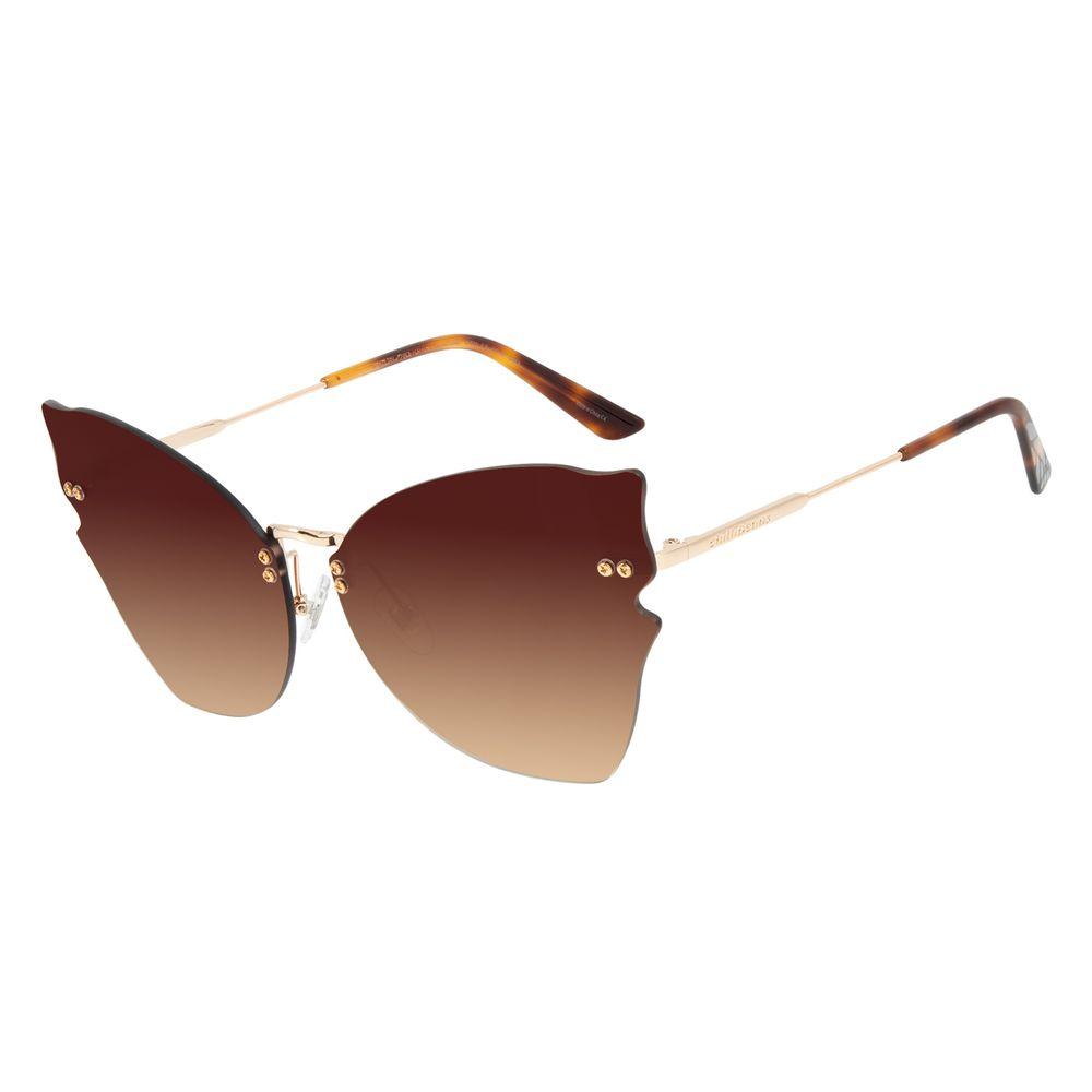 Óculos de Sol Feminino Mãe Natureza Gatinho Degradê Marrom OC.MT.2881-5721