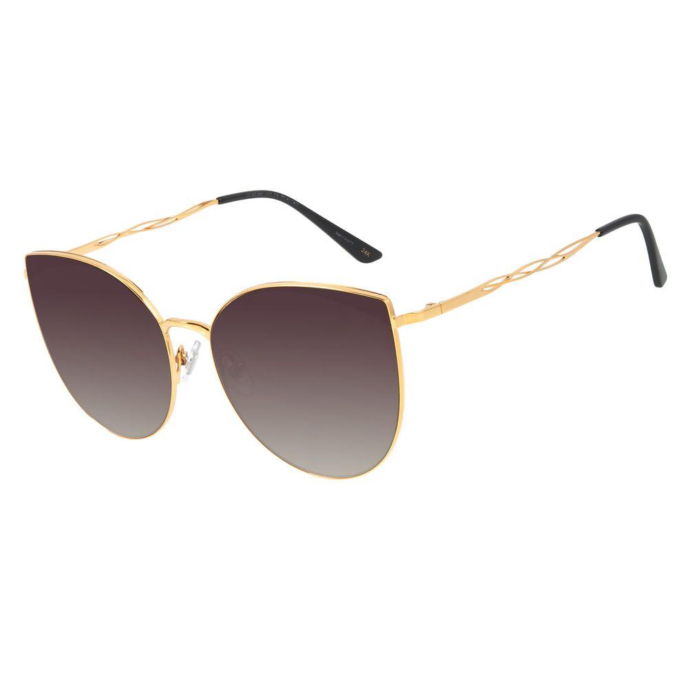 Óculos de Sol Feminino Mãe Natureza Banhado a Ouro Degradê OC.MT.2882-1121