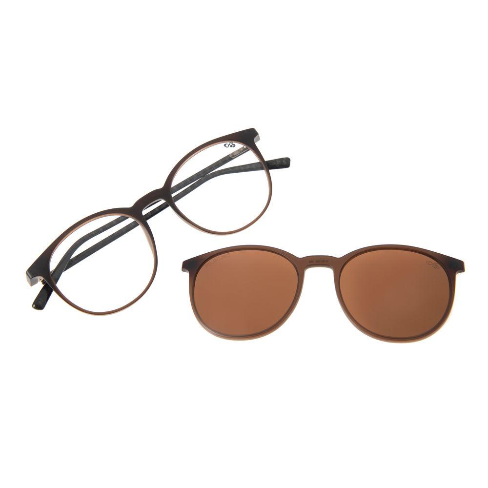 Armação Para Óculos De Grau Masculino Chilli Beans Multi Redondo Marrom Polarizado LV.MU.0492-0202