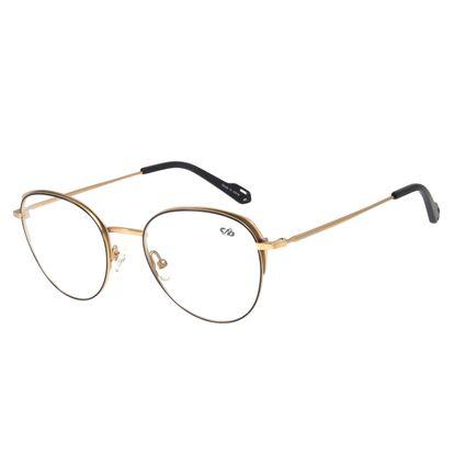 Armação Para Óculos de Grau Feminino Chilli Beans Redondo Titânio Dourado LV.MT.0372-0121