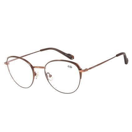 Armação Para Óculos de Grau Feminino Chilli Beans Redondo Titânio Marrom Escuro LV.MT.0372-4739