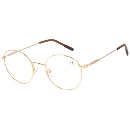 Armação Para Óculos de Grau Unissex Lollapalooza Brasil Fun Redondo Dourado LV.MT.0408-2121
