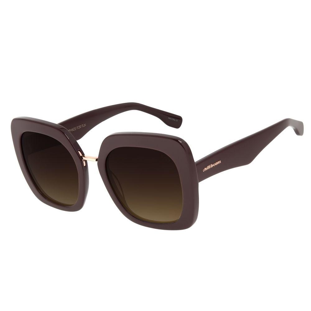 Óculos de Sol Feminino Chilli Beans Quadrado Vinho OC.CL.2974-5717