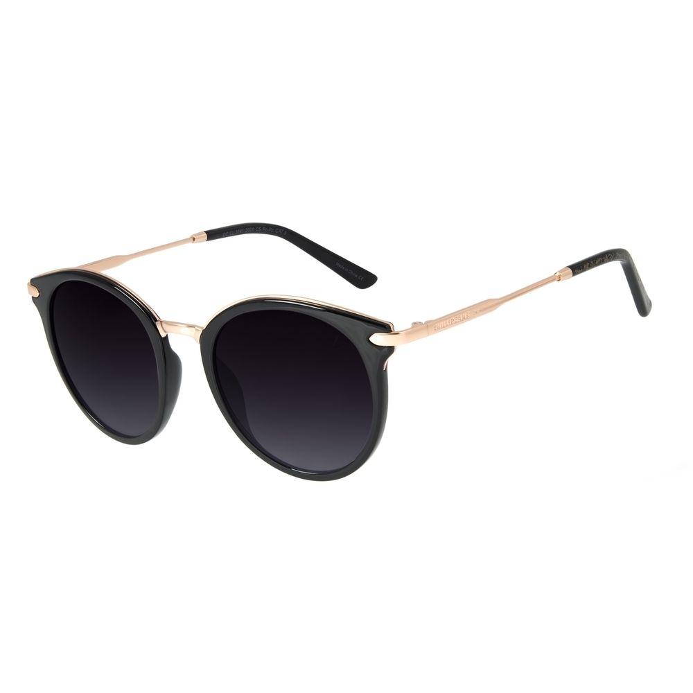 Óculos de Sol Feminino Loucuras da Nobreza Redondo Preto OC.CL.3141-2001