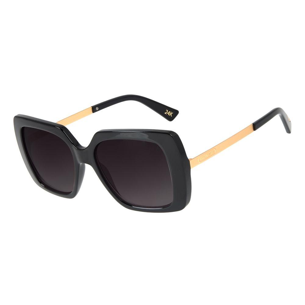 Óculos de Sol Feminino Loucuras da Nobreza Cleópatra Preto Banhado a Ouro  OC.CL.3145-2001