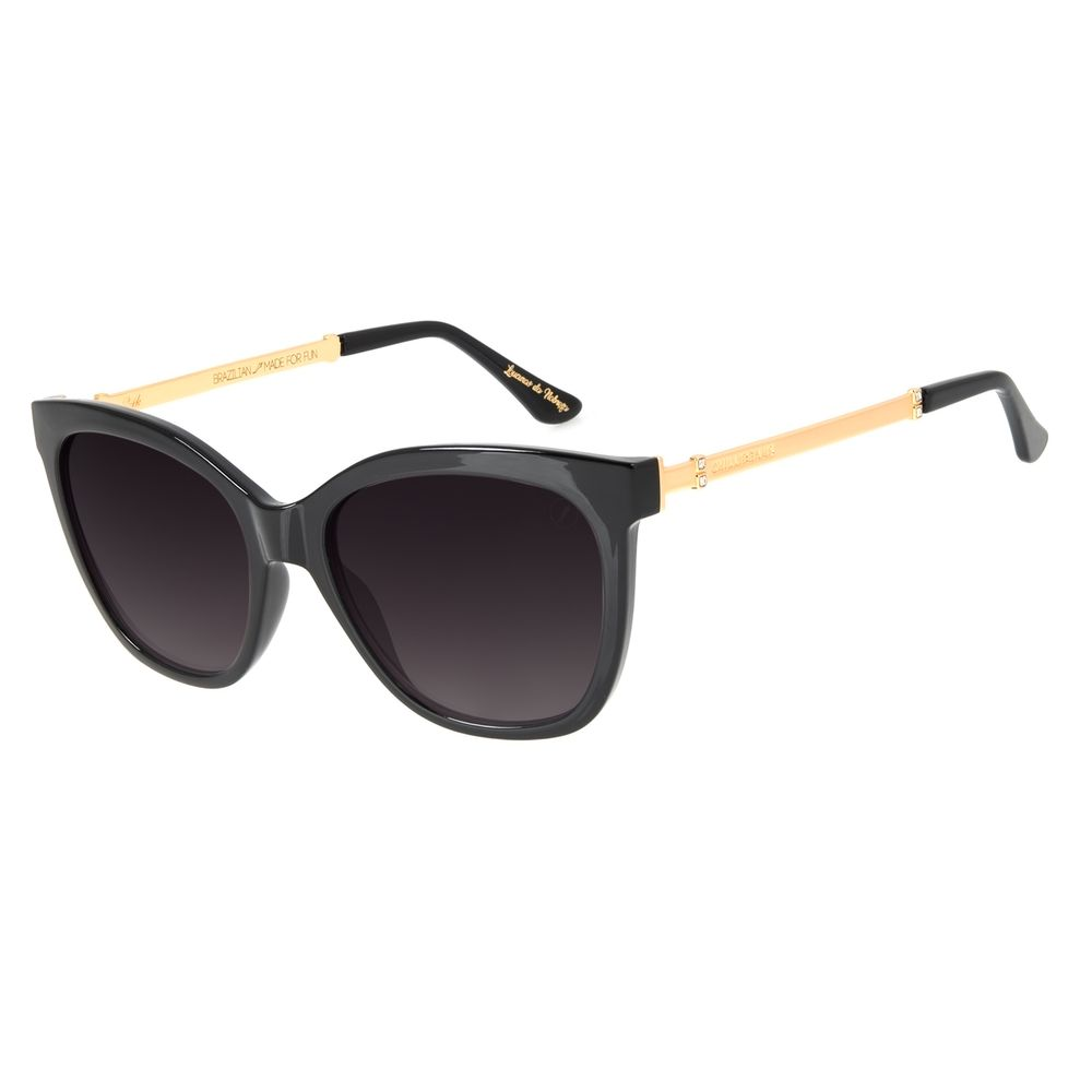 Óculos de Sol Feminino Loucuras da Nobreza Victoria e Albert Preto Banhado a Ouro OC.CL.3147-2001