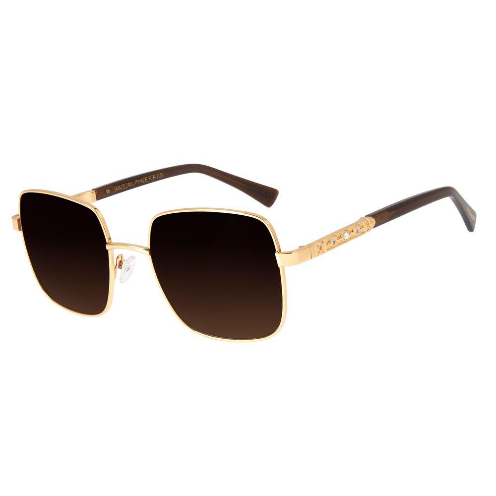 Óculos de Sol Feminino Loucuras da Nobreza Victoria Degradê Marrom Banhado A Ouro OC.MT.2965-5721
