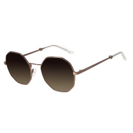 Óculos de Sol Feminino Loucuras da Nobreza Buda Hexagonal Marrom OC.MT.2964-8202