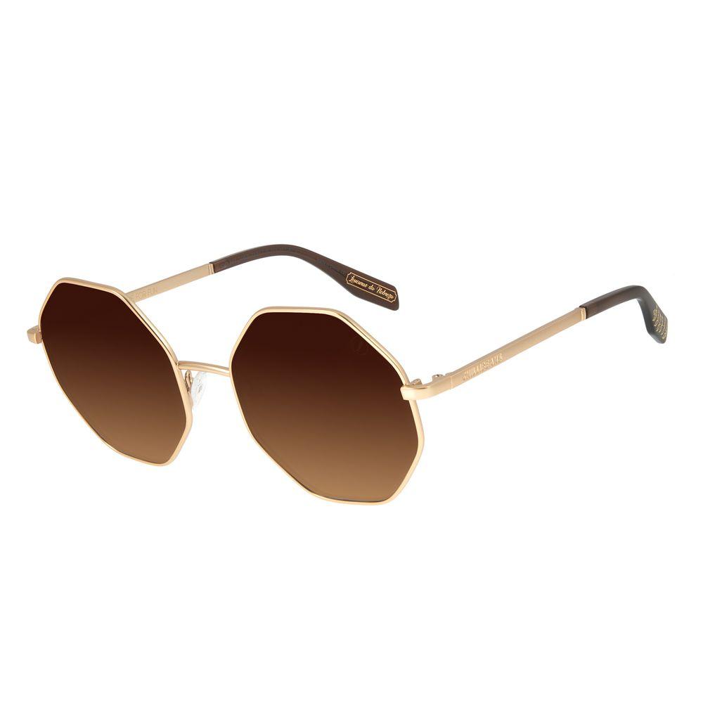 Óculos de Sol Feminino Loucuras da Nobreza Helena de Tróia Hexagonal Dourado OC.MT.2962-2121