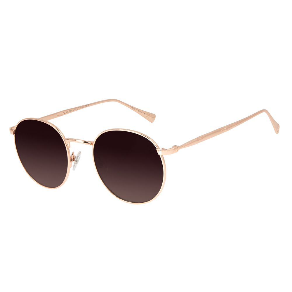 Óculos de Sol Feminino Loucuras da Nobreza Conde Drácula Rosé Banhado A Ouro OC.MT.2961-5795