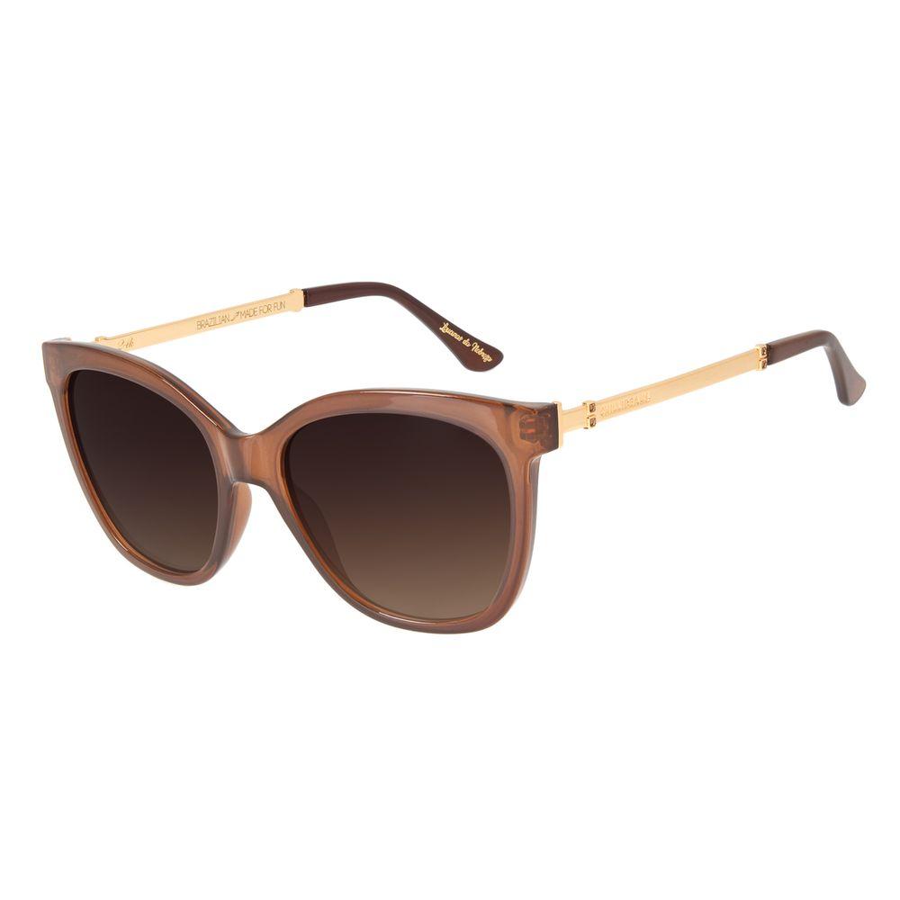Óculos de Sol Feminino Loucuras da Nobreza Victoria e Albert Marrom Banhado a Ouro OC.CL.3147-5702