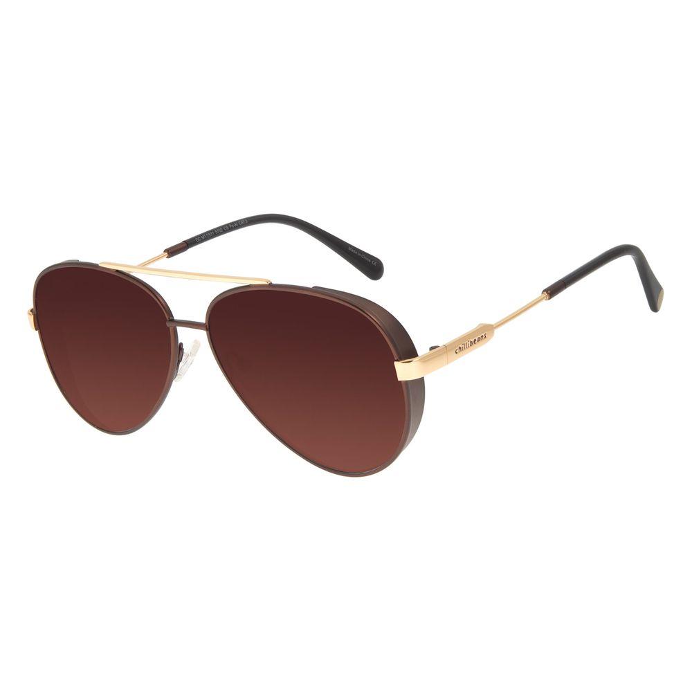 Óculos de Sol Unissex The Beatles Aviador Degradê Marrom OC.MT.2931-5702