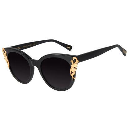 Óculos de Sol Feminino Loucuras da Nobreza Luís XIV Preto Banhado a Ouro  OC.CL.3153-2001