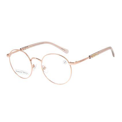 Armação para Óculos de Grau Feminino Loucuras da Nobreza Helena de Troia Rose Banhado a Ouro LV.MT.0476-9595